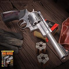 "Tank-tough Ten. This Super Redhawk in 10mm is everything a super hero wants to be. The ""moon clip-able"" reload feature gives fans a powerfully convenient wheelgun option. More in the 2018 Big Bore Special edition available now. Follow our profile link to order. #wheelgunwednesday #2a #10mm #merica #righttobeararms #igmilitia #pewpewlife #bigbore"