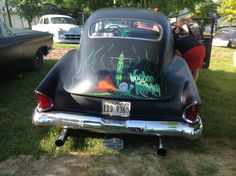 Great pin striping on flat black.  Voo Doo Kings charity car show, July 6th, 2013.  Volo Auto Museum, Volo, IL.   www.volocars.com.