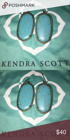 Kendra Scott turquoise Danielle earrings Very pretty veining. These are tarnished but still look cute! It makes them look antique brass 🙂 Also open to trades Kendra Scott Jewelry Earrings