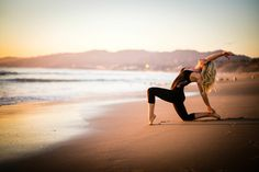 Yoga on a lovely Santa Monica beach at sunset.
