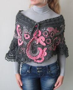 Gray and pink crochet freeform shaul,capelet,shrug. via Etsy.