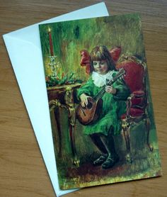Vintage Hallmark Coutts Canada Christmas Card with Envelope - Child Playing Music Instrument - Embossed & Unused Card