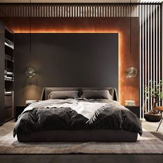 Pin by Harvey Houle on Bedroom bed design in 2020 (With images) Luxury Bedroom Design, Master Bedroom Interior, Modern Master Bedroom, Home Room Design, Master Bedroom Design, Luxury Interior Design, Dark Romantic Bedroom, Modern Bedroom Lighting, Industrial Bedroom Design