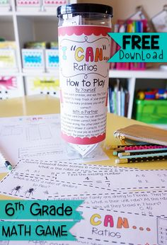 """Ratios & Unit Rate in 6th Grade: FREE """"I CAN"""" Math game covers all standards for Ratios and Unit Rate in 6th Grade. Perfect for Independent, Small Group, or Whole Group learning. {Common Core} FREE"""