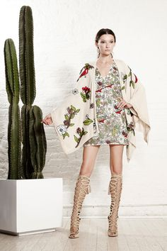 Alice   Olivia Spring 2016 Ready-to-Wear Fashion Show | mixed print small and large dress and kimono