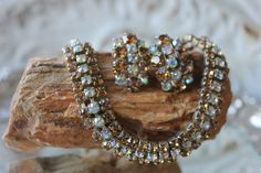 Vinatge AMBER and WHITE RHINESTONE Necklace and Clip on Earrings, Mid Century,Antique by FrancieLouiseJelly on Etsy