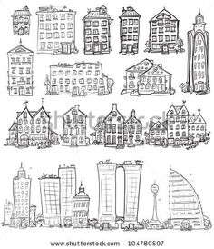 Set of hand drawn houses, doodled city, town doodles set - stock vector