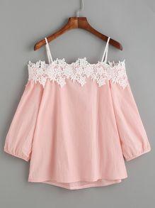 Pink Embroidered Lace Applique Cold Shoulder Blouse