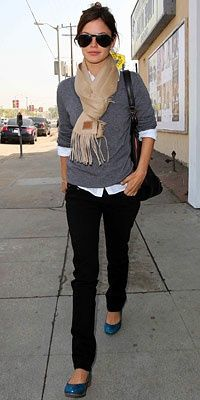 Preppy...grey cardigan...white collared shirt...black pants...pop of color in shoes...accessories.  Love it.