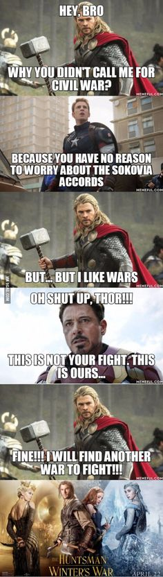 Reason on why Thor is not in Captain America : Civil War
