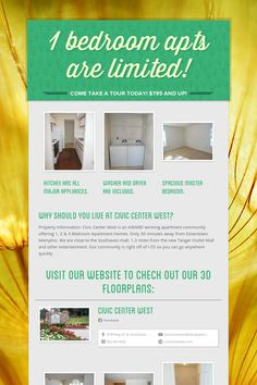Help spread the word about 1 bedroom apts are limited!. Please share! :)