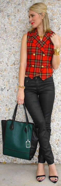 {#plaid #Vest} by Belle de Couture => Click to see what she wears