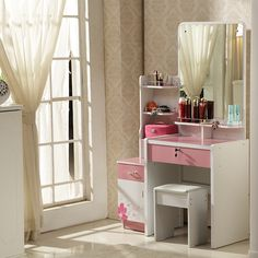 Exquisite Dressing Table Design Ideas with Square Mirror and White Curtains for Glass Window Also Using Floor Tiles