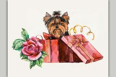 Puppy as a gift. by maria.kytyzova on Creative Market