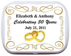 Favors for celebrating #50 years #anniversary mint tins with entwined gold hearts personalized labels.