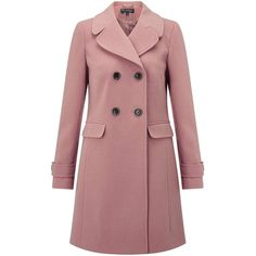 Miss Selfridge Pink Revere Collar Coat (7,830 INR) ❤ liked on Polyvore featuring outerwear, coats, jackets, pink, red coats, red double breasted coat, miss selfridge coat, miss selfridge and pink coat