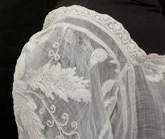 Hand embroidered mull dress with whitework embroidery. Detail. 1800-1810
