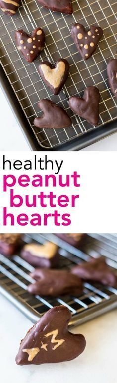 Healthy Peanut Butter Hearts: a vegan, gluten free, and healthy version of Reese's peanut butter hearts! Requires only 5 ingredients and perfect for Valentine's Day! || fooduzzi.com recipes #valentinesday #vegan #chocolatepeanutbutter