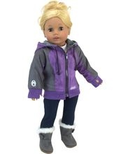 Lavender Knit Hooded Jacket made for 18 inch American Girl Doll Clothes