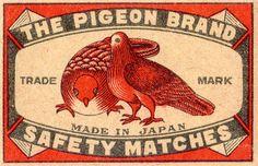 Pigeon Brand Safety Matches, Japan. ~via pilllpat (agence eureka), Flickr