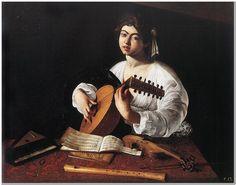 "Caravaggio (1571-1610) Lute Player Oil on canvas c1596 94 x 119 cm (37.01"" x 46.85"")"