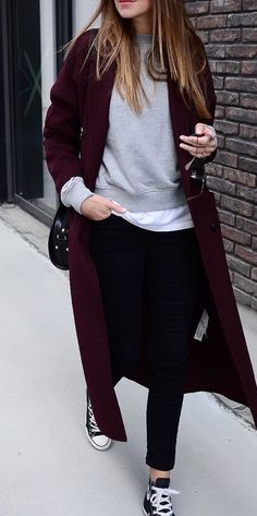 #winter #outfits purple long cardigan with black pants \