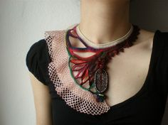 How unique and perfect is that?  Eurystomella Aupouria ... Freeform Beaded Crochet Necklace by Irregular Expressions