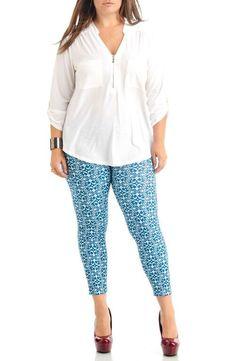 Women's Plus Size Blue Vintage Leggings