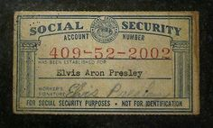 Elvis Presley's Social Security Card back in 1950 (not for I.) on the front that disappeared sometime between then and now. How Gov. Legislation Evolves to better track you. Rare Elvis Photos, Elvis Presley Photos, Elvis Quotes, Kit Harington, George Clooney, Graceland, No One Loves Me, Rock N Roll, Celebrities