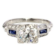 1.51ct centro del diamante y zafiro Anillo Platino