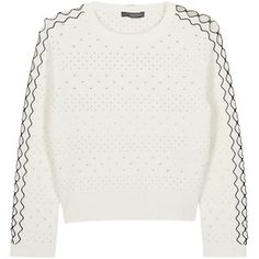 Womens Jumpers Alexander McQueen Ivory Cropped Eyelet Stretch-knit Jumper