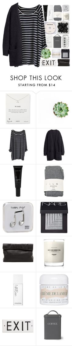 """Got my bad baby by my heavenly side"" by nsrogsy3 ❤ liked on Polyvore featuring KEEP ME, Dogeared, H&M, Allies of Skin, Falke, Happy Plugs, NARS Cosmetics, Marie Turnor, Baxter of California and La Mer"