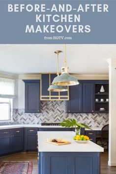 These before-and-after kitchen makeovers will leave you speechless. See these kitchens go from dingy and dated to breathtaking beauties. Grey Kitchen Island, All White Kitchen, New Kitchen, White Cottage Kitchens, Hgtv Kitchens, White Subway Tile Backsplash, Home Fix, White Countertops, Model Homes