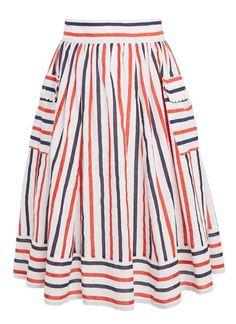 Multi Colour Stripe Cotton Skirt