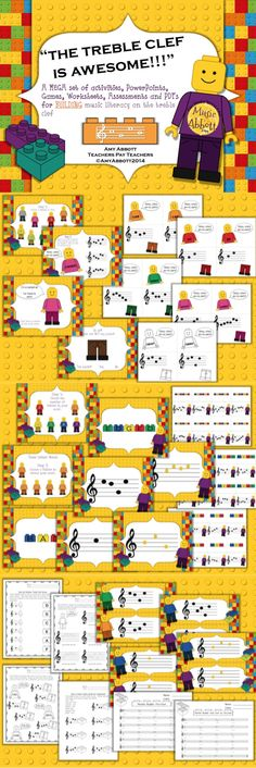 Treble Clef is Awesome! A MEGA Set of materials for building literacy of the treble clef. Preschool Music, Music Activities, Music Games, Violin Lessons, Music Lessons, Music Classroom, Music Teachers, Classroom Ideas, Music Worksheets