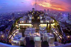Vertigo and Moon Bar in Banyan Tree Hotel Bangkok, Thailand. Must stay here during my Bangkok visit! Bangkok Restaurant, Bangkok Hotel, Rooftop Restaurant, Hotel Thailand, Tree Restaurant, Rooftop Bangkok, Thailand Travel, Thailand Nightlife, Bangkok Trip