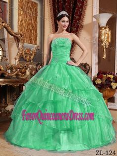 Popular Strapless Apple Green Organza Dress for Quinceanera with Ruffles