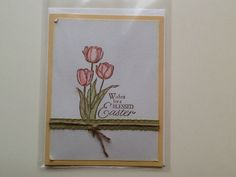I used Stampinup! Card stock, ink, stamp, and ribbon on this Blessed Easter card.