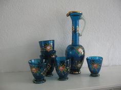 Bohemian Retro Blue Glass set with pink flowers by RetroUK on Etsy, £18.00