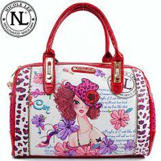 This item sell at  HandbagLoverUSA.com $63.99 Nicole Lee Sunny White Print Boston Bag Fashion Handbag Purse
