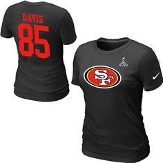Nike San Francisco 49ers 85 Vernon Davis Name & Number Super Bowl XLVII Women's TShirt Black