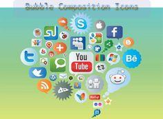 social media icons bubble composition