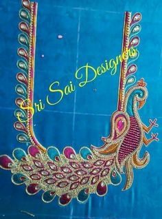 Peacock Blouse Designs, Peacock Embroidery Designs, Simple Blouse Designs, Bridal Blouse Designs, Peacock Design, Mirror Work Blouse, Maggam Work Designs, Hand Work Blouse Design, Tambour Embroidery