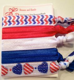 4th of July Set - Elastic Hair Ties - Ponytail Holders
