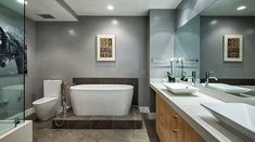 Fully outfitted: One of the bathrooms has a separate tub and shower...