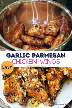 Save on takeout and make these easy Garlic Parmesan Chicken Wings at home. Includes an easy Garlic Parmesan Wing sauce with directions to cook the chicken in the air fryer and the oven. Air Fryer Recipes Chicken Wings, Air Fryer Recipes Keto, Air Fry Recipes, Air Fryer Dinner Recipes, Recipe Chicken, Crockpot Chicken Wings, Pan Fried Chicken Wings, Pressure Cooker Chicken Wings, Low Carb Chicken Wings