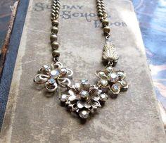 repurposing vintage jewelry | Repurposed Assemblage Jewelry / Vintage Rhinestone by hollyglimmer, $ ...