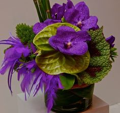Purple and green centerpiece. Anthurium, orchids, begonia leaves and feathers.
