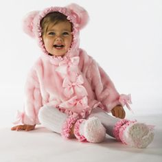This kimono style coat is just too cute for words! Perfect for keeping your baby girl warm this winter, this pink baby bear jacket features satin ruffle trim and lining with satin bow accents and even little bear ears on the hood. Your baby will just lov Bear Jacket, Bear Coat, My Baby Girl, Pink Girl, Baby Girls, Baby Outfits, Kids Outfits, Cute Kids, Cute Babies