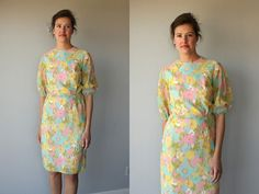 1960s wiggle dress / 60s dress / day dress / sheath dress 60s - size small to medium. $68.00, via Etsy.